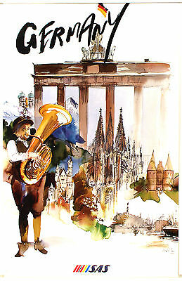 Vintage Scandinavian Airlines SAS Flights to South America Poster  A3 Print