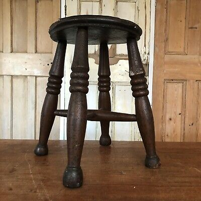 Antique Wooden Farmhouse Milking Stool Low Stool Display Stand