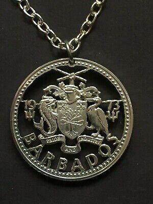 Barbados Cut Coin Pendant Coat of Arms with Dolphin and Pelican 1973