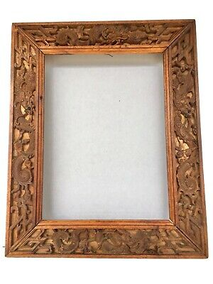 Antique Hand Carved Wooden Oriental Frame With Dragons Circa 1910-20