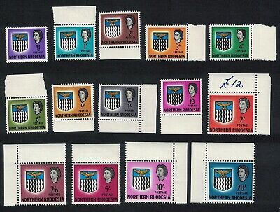 N. Rhodesia Arms 14v Margins and Corners MNH SG#75-88