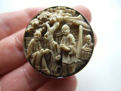 Exquisite Antique Victorian Chinese Cantone Hand Carved Natural Brooch