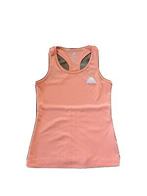 Girls Adidas Orange White Vest Top Dance Gym Sports Top 11-12 Years Climalite
