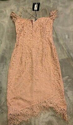 Gorgeous Pretty Little Thing Pink Lace Strappy Dress BNWT Size 8