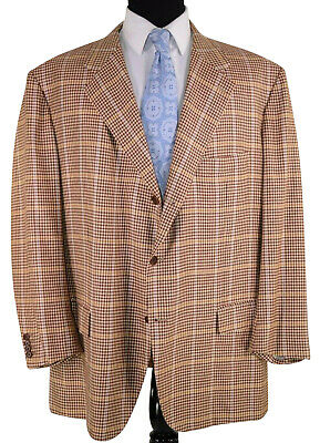 Kiton Napoli 100% Pure Cashmere Tagged Size 64 (54) in Yellow Gold Plaid Luxury
