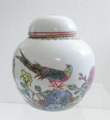 Vintage Chinese Ginger Jar flowers and bird design