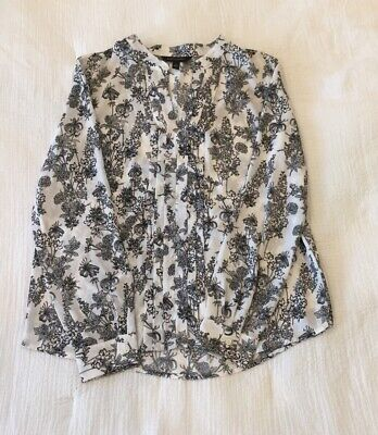 *GORGEOUS* Women's Banana Republic Black White Floral Pleated Blouse Size Small