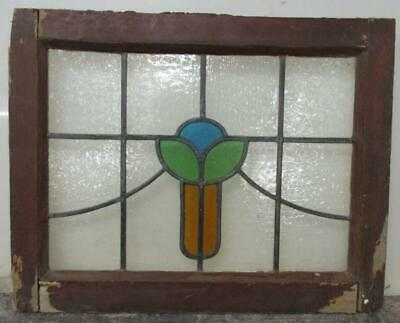 "OLD ENGLISH LEADED STAINED GLASS WINDOW Floral Sweep Design 21"" x 16.5"""