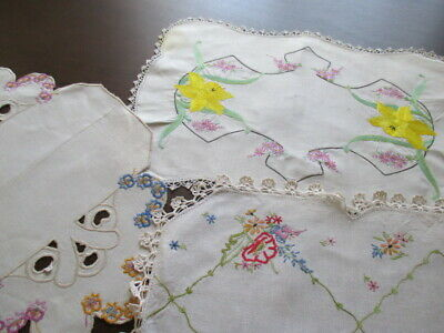 Three Large Centrepiece Vintage Retro Doilies. Hand Embroidered. Stunning Pieces