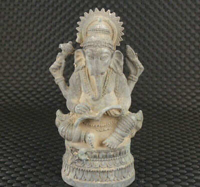 Rare Chinese old bronze hand  carved buddha elephant blessing statue figure