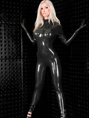 100% Pure Latex Rubber Black Tight Uniforms Catsuit Gloves Suit 0.4mm Size S-XXL