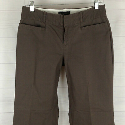 Banana Republic womens size 4 short stretch solid brown flat front bootcut pants