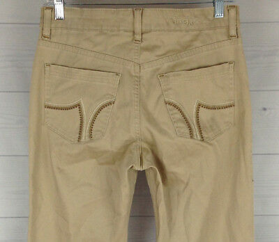 JAG Jeans Womens Size 2P Petite Low Rise Stretch Beige Bootcut Detailed Pants