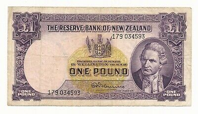 New Zealand NZ  1 Pound - Fleming ND (1956-67) w/ Thread P. 159d aFine Note