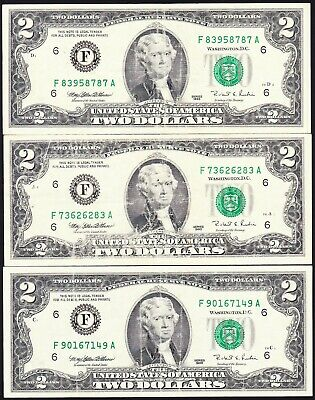 USA $2 Bill Series 1995 - One Note Only (Three Available)