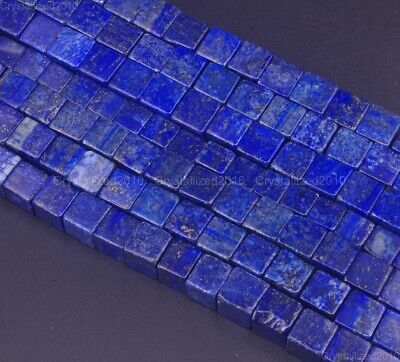 Natural Lapis Lazuli Gemstone Square Cube Spacer Beads 4mm 6mm 8mm 10mm 15.5""
