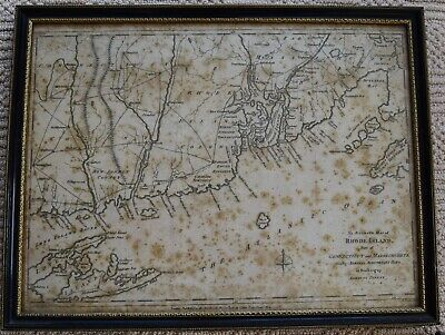 1780 Map of Rhode Island with parts of Connecticut and Massachusetts