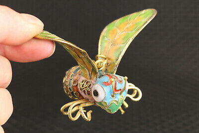 chinese old cloisonne hand carved bee hand statue netsuke collectable