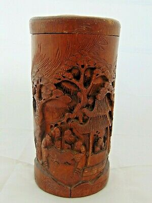 ANTIQUE 19th C ORIENTAL CHINESE CARVED LIDDED BAMBOO BRUSH POT 10""