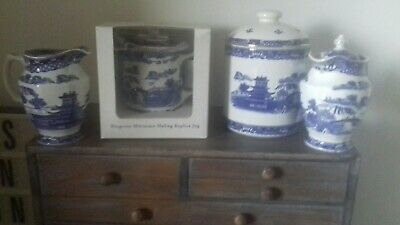 Collection Ringtons Willow 3 X Jugs And Biscuit Barrel lidded.