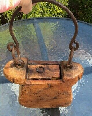Antique early primitive hand carved wooden Tinder Box w/forged iron handle