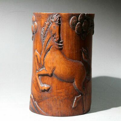 Collect China Old Boxwood Hand-Carved Horse Delicate Unique Auspicious Brush Pot