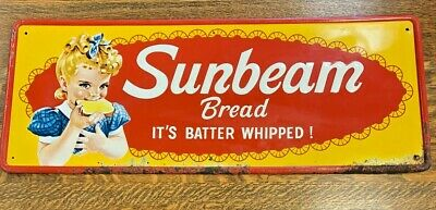 "1950's Embossed and Painted Sunbeam ""It's Batter Whipped"" Bread Sign"