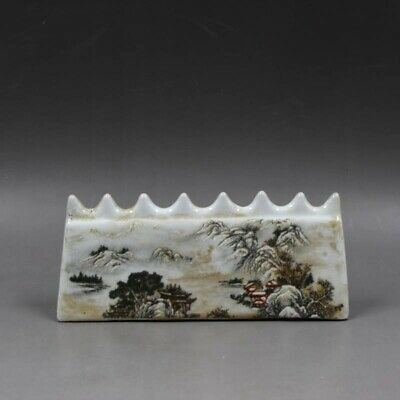 Collectable China White Glazed Porcelain Paint Mountain Scenery Unique Pen Rack