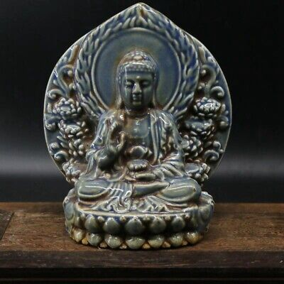 Qianlong Years Collect Old Porcelain Hand-Carved Buddha Exorcism Decorate Statue