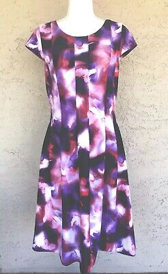 Calvin Klein Floral Womens 12 Purple Lined Zip Stretch Dress