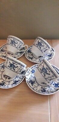 Johnson Brothers  Blue Indies 4 Tea Cups And Saucers.