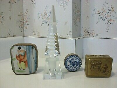 Chinese Porcelain & Metal Trinket Box & Japanese Crystal Pagoda Perfume Bottle