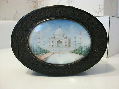 Antique Chinese Asian Teakwood Painted Taj Mahal Picture Hinged Wood Box And Key