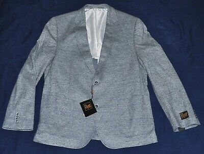 New $475 FLYNT Blazer Men's 44R 44 Regular Gray Cotton LINEN 2 Button BABBITT