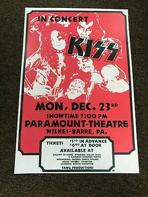 """Kiss 1974 Hotter than Hell Tour Wilkes Barre Cardstock Concert Poster 12"""" x 18"""""""