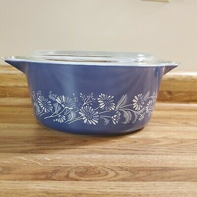 Pyrex Blue Colonial Mist 2.5L Casserole Mixing Bowl and Glass Lid  475B NICE