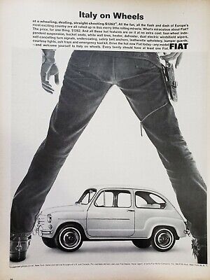 Lot of 3 Vintage 1965 Fiat 1100D Ads Italy on Wheels