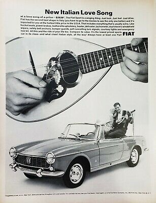 Lot of 3 Vintage 1964 Fiat Sport Ads New Italian Love Song