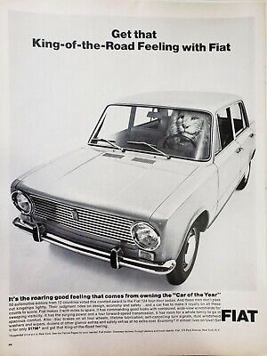 Lot of 3 Vintage 1965 Fiat Sport Ads King of the Road