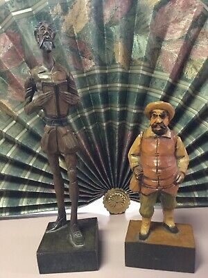 Ouro Artesania Don Quixote and Sancho Panza Wood Carved figurines made in Spain