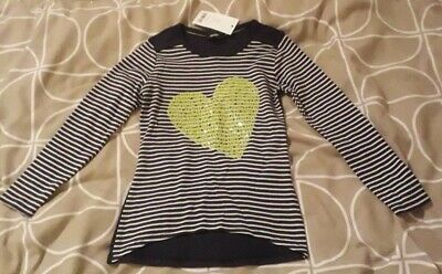 Girls black striped top with green heart detail by George, aged 5/6 BNWT