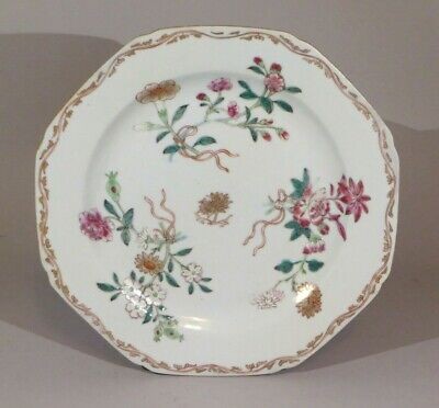 "Antique Chinese export porcelain famille rose plate c.1750 8 5/8"" across........"