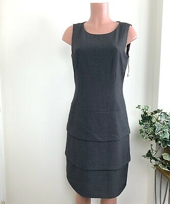 Calvin Klein Layered Sheath Dress Size 10 Gray New