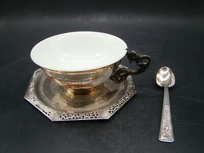 Chinese 1920's nice silver and porcelain cup & dish & spoon (ARG 0.900)  x391