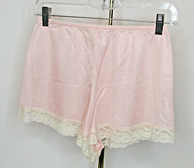Vtg Silky Nylon Granny Sissy Lace Trim High Waist Tap Panties sz Large USA made