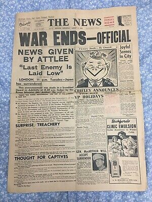 THE NEWS NEWSPAPER Tue Aug 15, 1945  WAR ENDS OFFICIAL