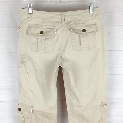 Style&Co womens size 4 stretch beige flap pocket straight leg embroidered pants