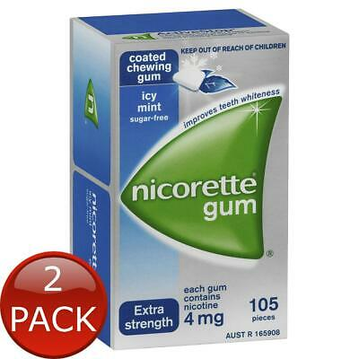 2 x NICORETTE GUM EXTRA STRENGTH COATED ICY MINT 4MG 105 PACK