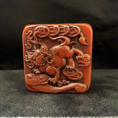 China Collect Old Shoushan Ston Hand-Carved Myth Kirin Bring Wealth Statue Seal