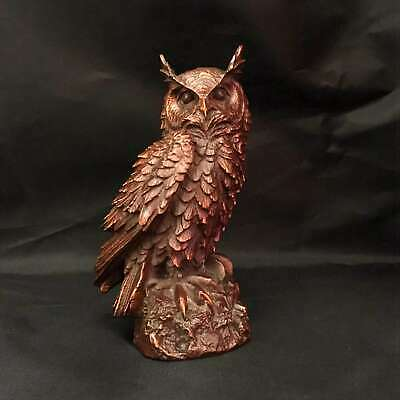 Collectable China Old Boxwood Handwork Carve Vivid Owl Unique Delicate Statue